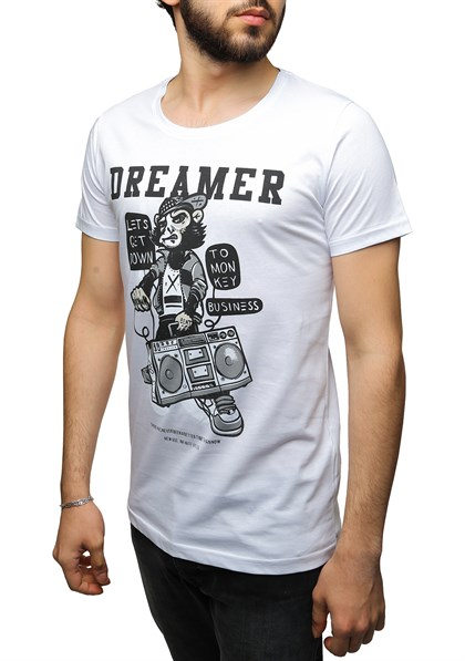 Madmext Printed White T-Shirt 2469