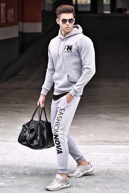 Madmext Grey Printed Tracksuit 4217