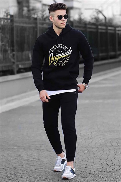 Madmext Black Printed Tracksuit 41174215