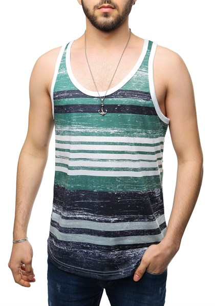Madmext Printed Green Tank Top 2502