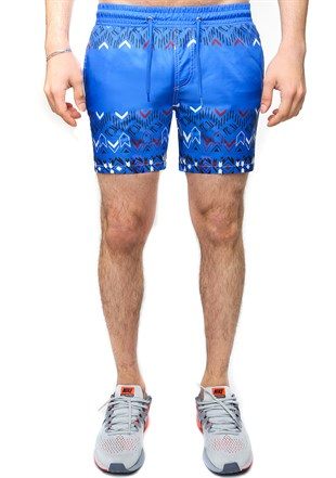 Madmext Saxe Printed Swim Wear Short 2578