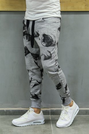 Madmext Printed Grey Jogger 2704
