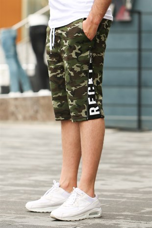 Madmext Men Camouflage Green Shorts 2425