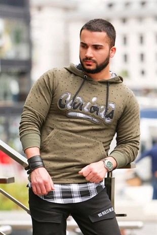 Khaki Hooded Sweatshirt - Hole Details 2765