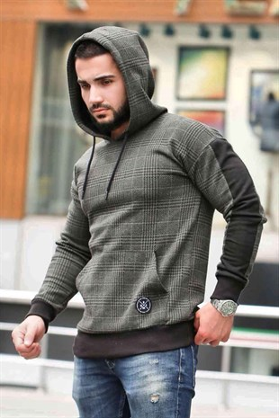 Hooded Plaid Sweatshirt Khaki 2697