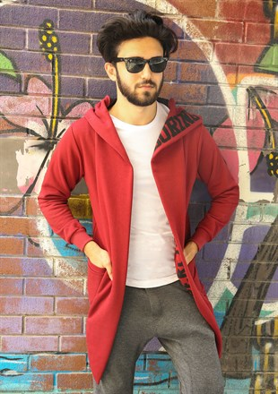 Madmext Claret Red Printed Cardigan with Hooded 2782