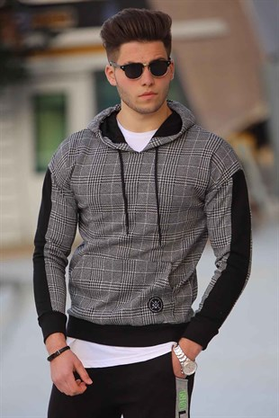 Hooded Plaid Sweatshirt White 2697