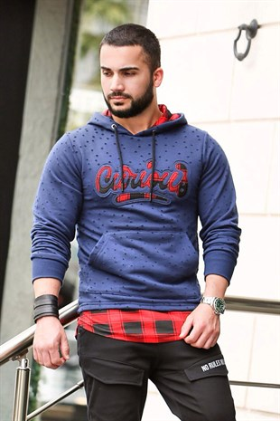 Navy Blue Hooded Sweatshirt - Hole Details 2765