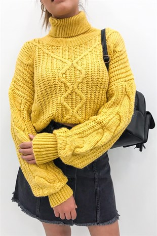 Mad Girls Yellow Turtleneck Jumper MG156