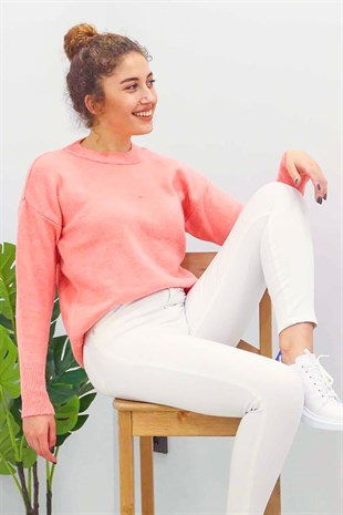 Mad Girls Pink Crew Neck Jumper MG097