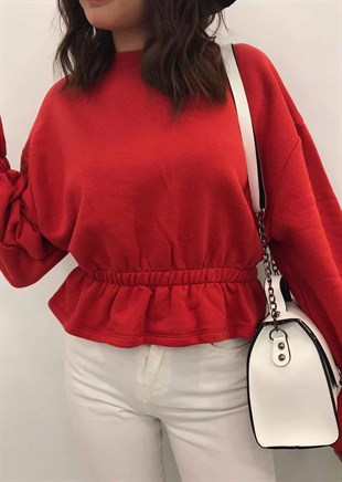 Mad Girls Red Frilled Sweatshirt MG129