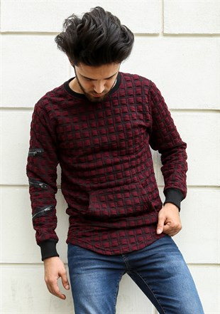 Madmext  Burgundy Mens Sweatshirt 2109