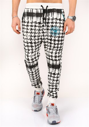 Madmext Checkered White-Black Joggers 1136
