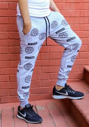 Madmext Patterned Grey Joggers 2075