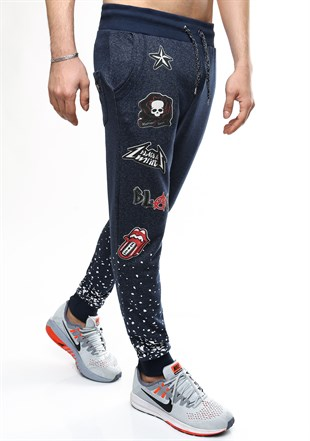 Madmext Patterned Navy Blue Joggers 1606