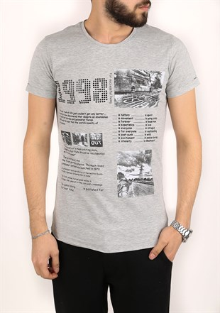 Madmext Printed Grey T-Shirt 2306