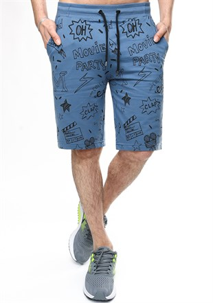 Madmext Indigo Patterned Capri for Men 2409