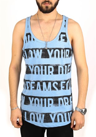 Madmext Printed Blue Tank Top 2318