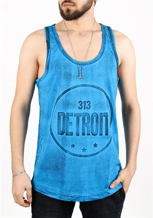 Madmext Printed Blue Tank Top 2446