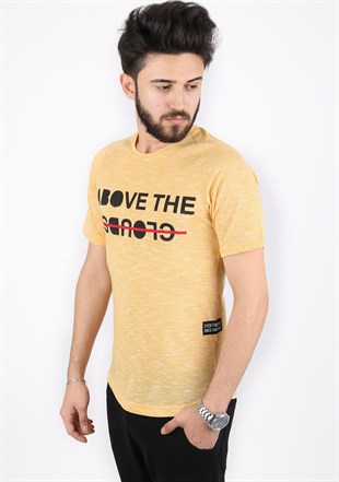 Madmext Printed Yellow T-Shirt 2320