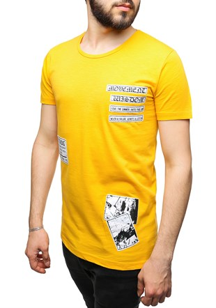 Madmext Printed Yellow T-Shirt 2473