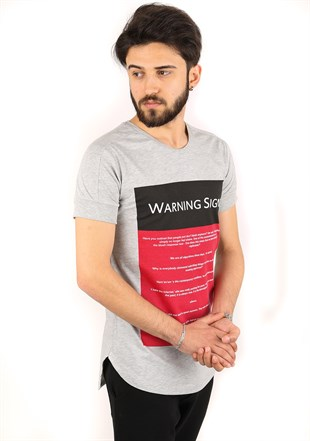 Madmext Printed Grey T-Shirt 2340
