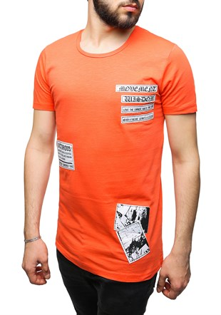 Madmext Printed Orange T-Shirt 2473