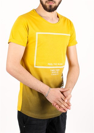 Madmext Printed Yellow T-Shirt 2333