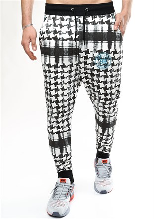 Madmext Checkered Black-White  Joggers 1136