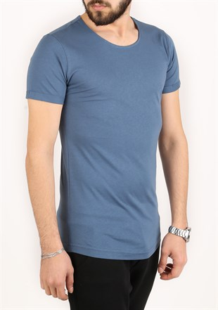 Madmext Basic Indigü T-Shirt 2297