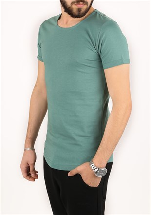 Madmext Basic Green T-Shirt  2297