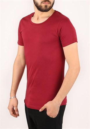 Madmext Bisiklet Yaka Bordo T-shirt 2308