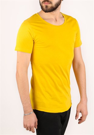 Madmext Basic Mustard T-Shirt 2308