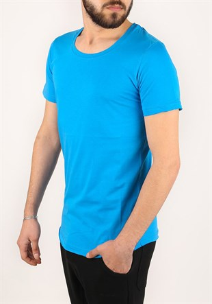Madmext Blue Basic T-shirt for Men 2308