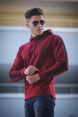 Madmext Bordo Basic Kapşonlu Sweatshirt 4165
