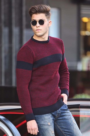 Madmext Claret Red Crewneck Jumper 4362