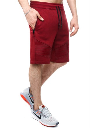 Madmext Patterned Burgundy Fitness Shorts 2415