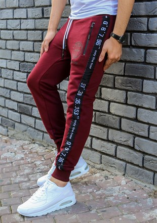 Madmext Striped Burgundy Joggers 2085