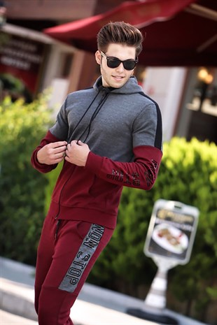 Madmext Claret Red Zipper Detailed Hoodie 4162