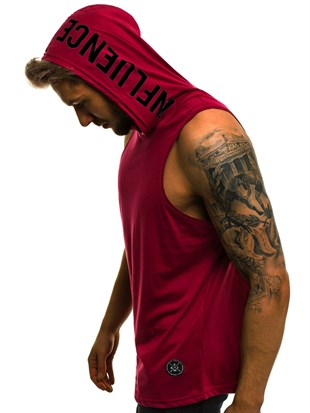 Madmext Claret Red T-shirt with Hood for Men 2537