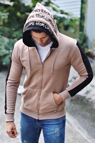 Madmext Camel Zipper Detailed Hoodie 4373