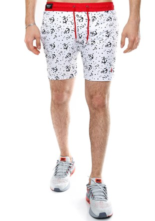 Madmext Printed White Swim Shorts 2368