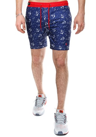 Madmext Printed Navy Blue Swim Shorts 2368