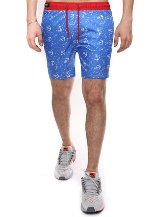 Madmext Printed Blue Swim Shorts 2368
