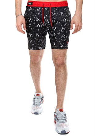 Madmext Printed Black Swim Shorts 2368