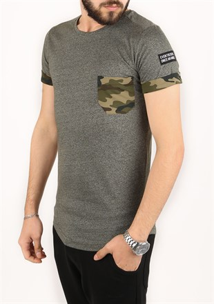 Madmext Khaki T-shirt with Camouflage Pocket 2294