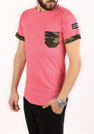 Madmext Pink T-shirt with Camouflage Pocket 2294