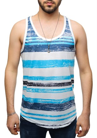 Madmext Printed Blue Tank Top 2503