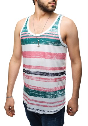 Madmext Printed Pink Tank Top 2503
