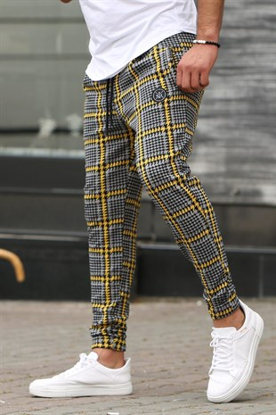 Mens Tracksuit In Plaid Details Yellow Color 4202